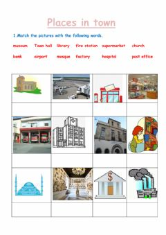 Interactive worksheet Places in town
