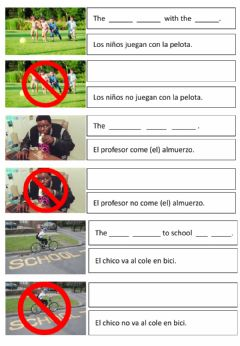 Interactive worksheet Do-does vs don't-doesn't + school vocab (3 - Primaria)
