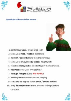 Interactive worksheet Present simple - Christmas edition