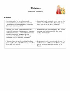 Interactive worksheet Christmas Word Problems