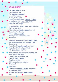 Interactive worksheet Who knew by Pink
