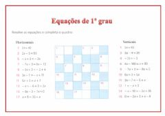 Interactive worksheet Equações de 1º Grau - 7.3