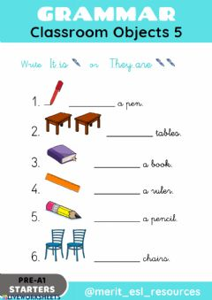 Interactive worksheet School Objects - Write It is-They are