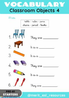 Interactive worksheet School Objects - Write