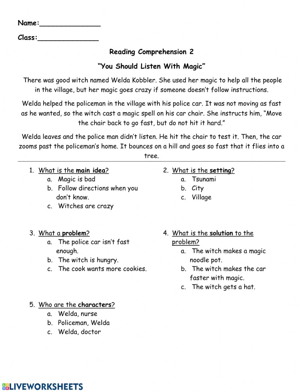 - Reading Comprehension - Follow Directions - Interactive Worksheet
