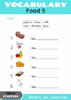 Ficha interactiva Food - Write