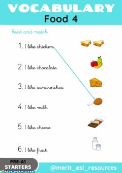 Interactive worksheet Food - Read and match