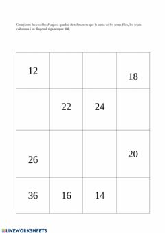 Interactive worksheet Sudoku sumas