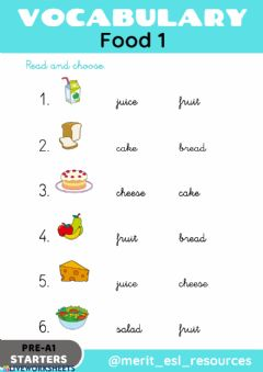 Interactive worksheet Food - Read and choose
