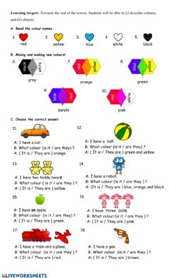 Interactive worksheet Describing colour and objects
