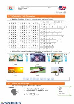The weather: vocabulary-e worksheet preview