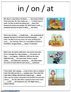 Interactive worksheet In On At