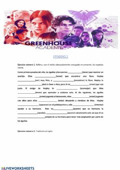 Ficha interactiva Comprension auditiva. Greenhouse Academy. Episodio 1.