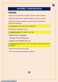Interactive worksheet Adverbs comparisons