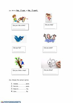 Ficha interactiva Modal verb -CAN-