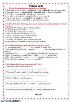 Interactive worksheet Passive voice - grade 7
