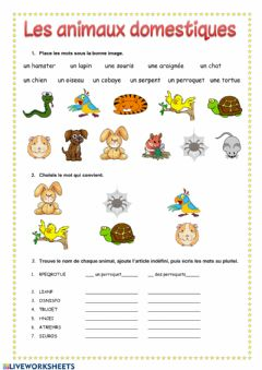 Interactive worksheet Les animaux domestiques