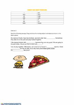 Interactive worksheet Subject and Objects pronouns
