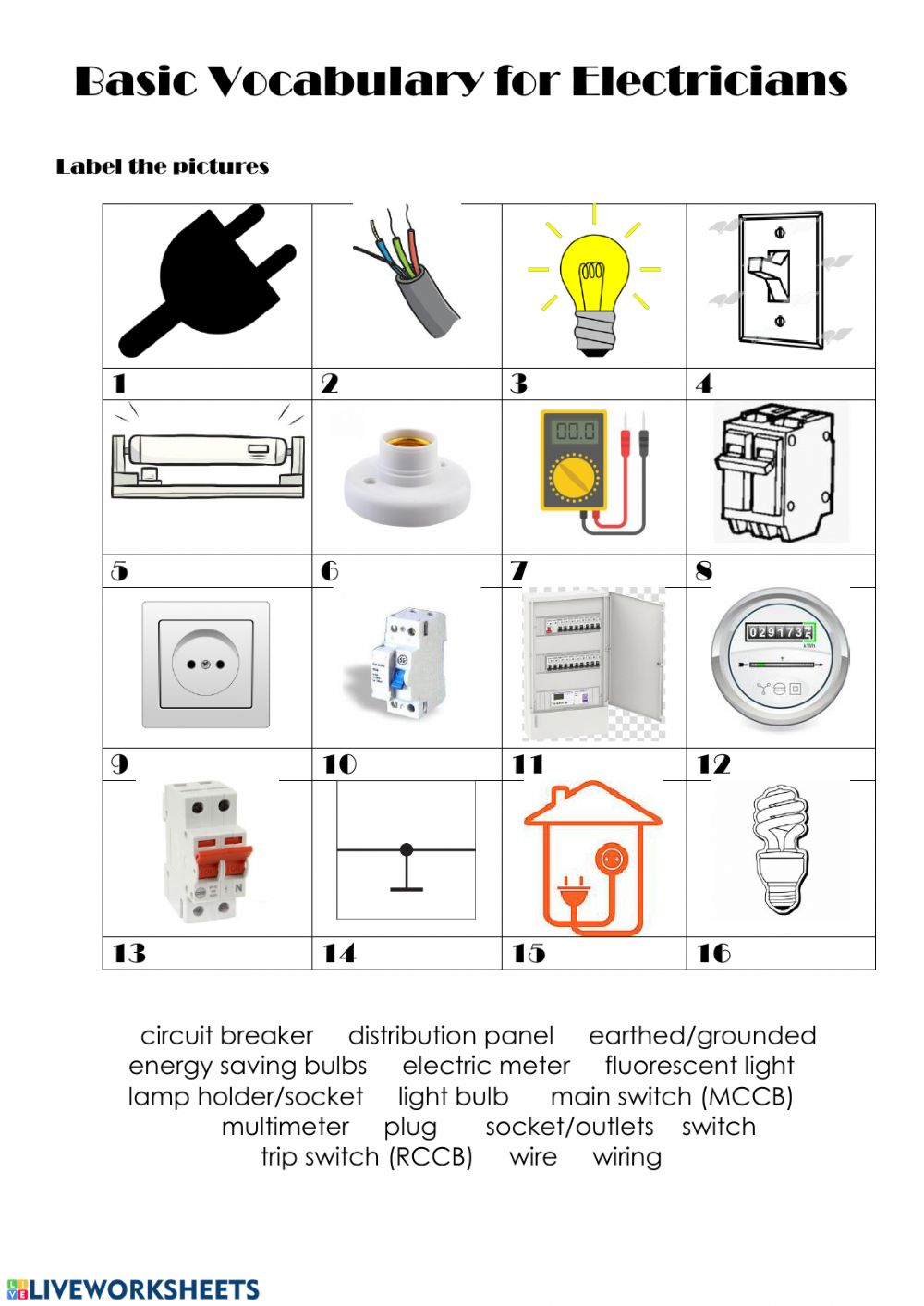 Basic Vocabulary For Electricians Interactive Worksheet