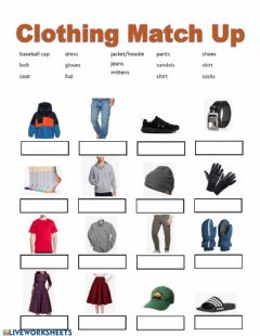 Interactive worksheet Clothing Match Up