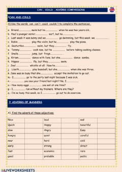 Ficha interactiva Can,could,adverbs,comparisons