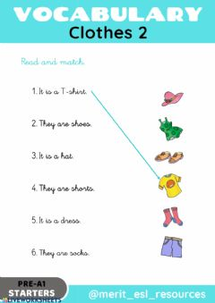 Interactive worksheet Clothes - Read and match