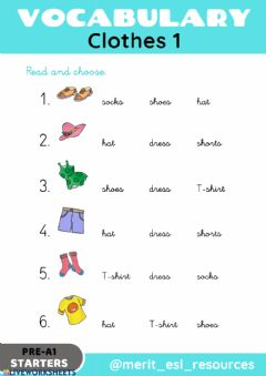 Interactive worksheet Clothes - Read and choose