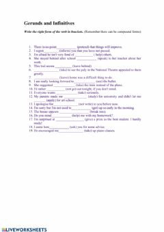 Interactive worksheet Compound gerunds and infinitives