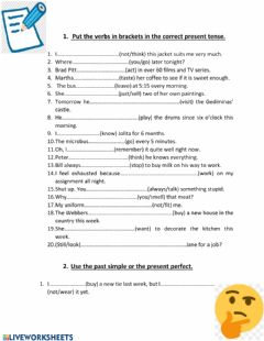 Interactive worksheet Present tenses