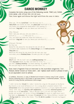 Interactive worksheet Dance Monkey by Tones and I