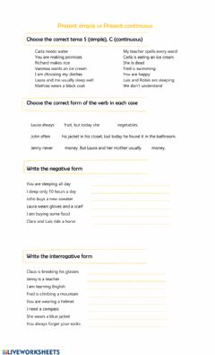 Interactive worksheet Present tense: simple vs continuous