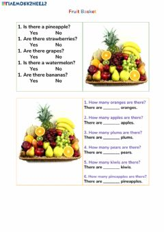 Ficha interactiva Fruit Counting Numbers