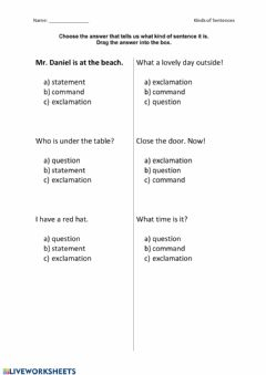 Interactive worksheet Types of Sentences