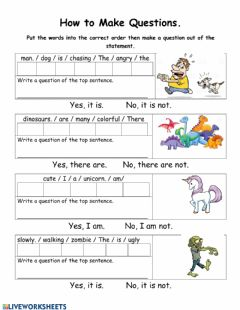 Interactive worksheet Yes No question maker