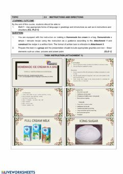 Interactive worksheet Instruction and direction