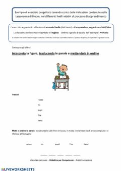 Interactive worksheet Interpreta la figura, traducendo le parole e mettendole in ordine cod.20