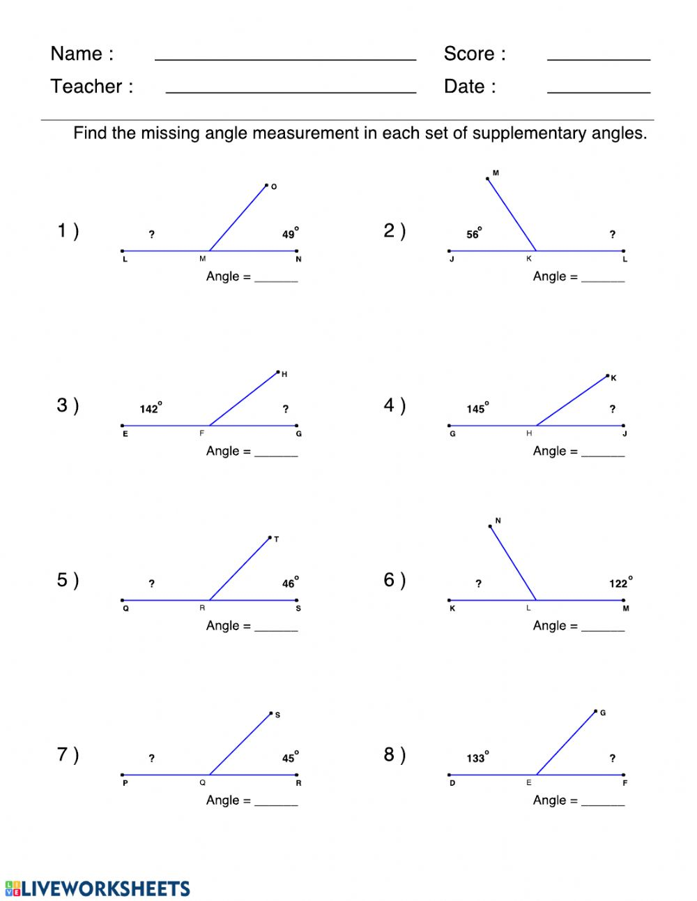 Supplementary angles   Interactive worksheet