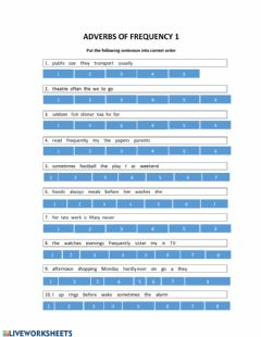 Ficha interactiva Adverbs of Frequency order