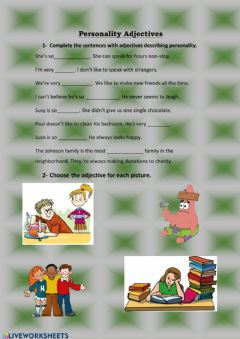 Interactive worksheet Personality Adjectives