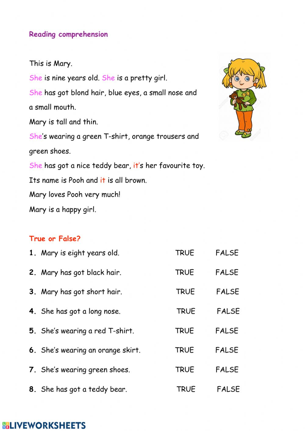 - Reading Comprehension - Interactive Worksheet