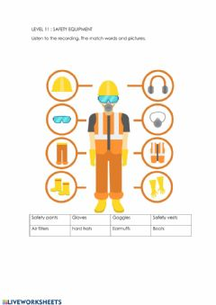 Interactive worksheet Safety equipment