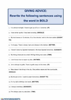 Interactive worksheet Giving advice