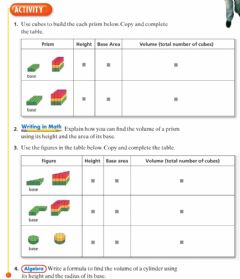 Interactive worksheet 9-2 Volumes of prisms and cylinders