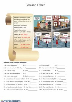 Interactive worksheet Too, either