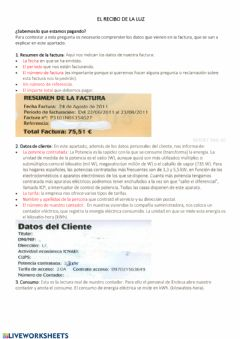 Interactive worksheet Factura de la luz