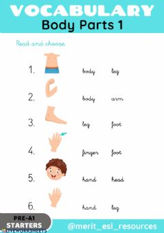 Interactive worksheet Body Parts - Read and choose