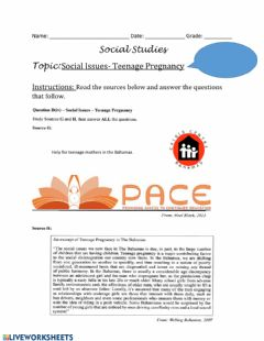 Interactive worksheet Social Issues -Teenage Pregnancy