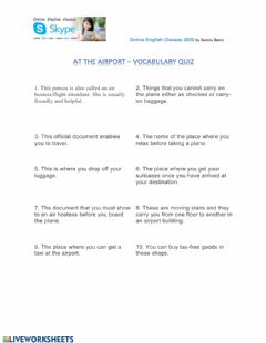 Interactive worksheet Air travel - quiz
