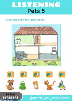 Ficha interactiva Pets - Listen and match