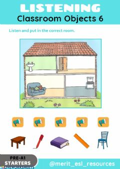 Interactive worksheet School Objects - Listen and match